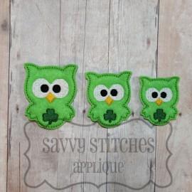 Kookie Owl Shamrock Feltie